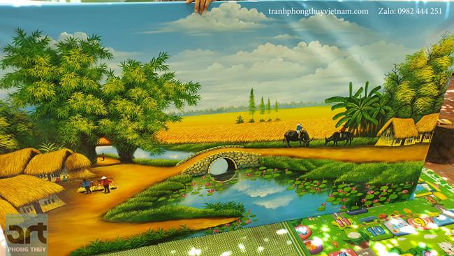 vẽ tranh phong cảnh làng quê thanh bình