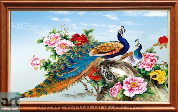 Mẫu tranh phong thủy chim công hoa mẫu đơn đẹp 2020