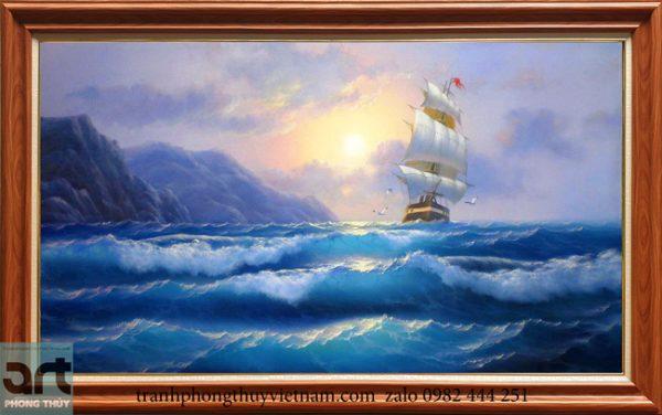 Tranh phong cảnh thuyền biển đẹp 2020