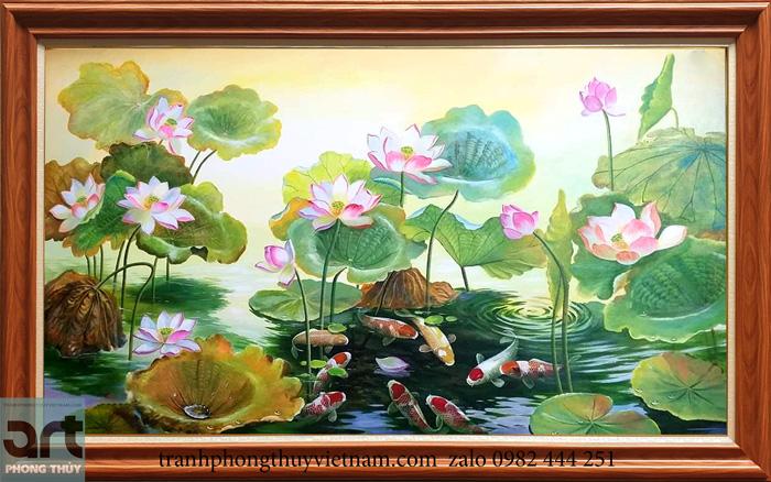 Tranh phong thủy cửu ngư hoa sen đẹp treo trang trí