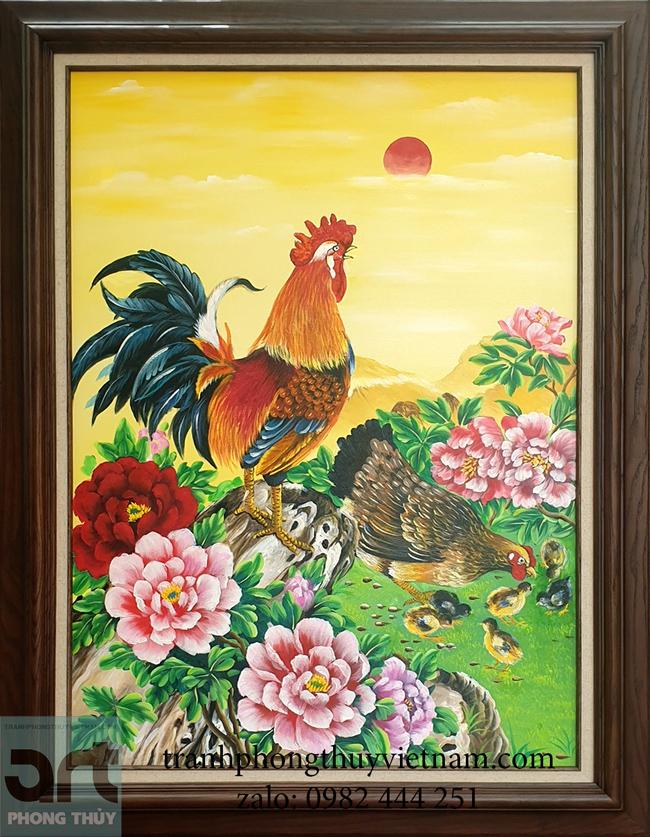 Tranh phong thủy đàn gà và hoa mẫu đơn