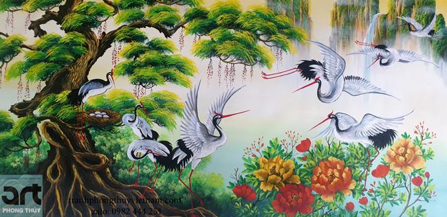 tranh tùng hạc phong thủy đẹp nhất