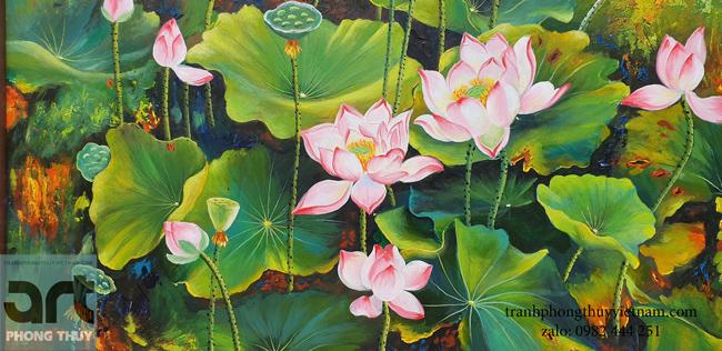 Tranh hoa sen nghệ thuật chất liệu sơn dầu