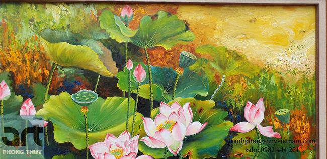 Tranh sơn dầu hoa sen nghệ thuật