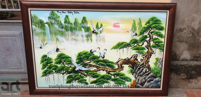 bức tranh sơn dầu tùng hạc trường xuân