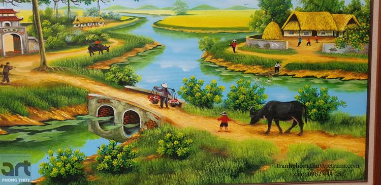 cậu bé chăn trâu trong tranh vẽ phong cảnh làng quê