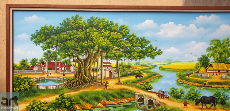 hình ảnh cây đa trong tranh vẽ phong cảnh làng quê