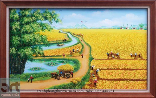 Tranh làng quê cánh đồng lúa chín