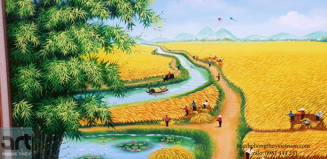 tranh làng quê lũy tre làng con diều tuổi thơ