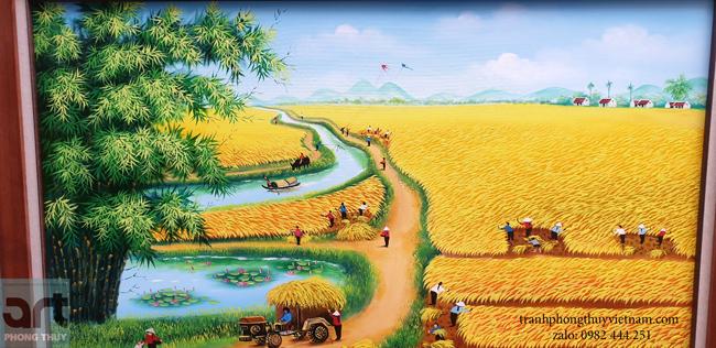tranh làng quê vẽ cảnh thu hoạch lúa