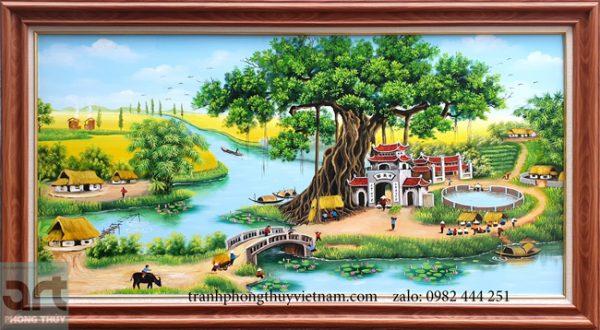 Tranh phong cảnh làng quê đẹp treo trang trí phòng khách