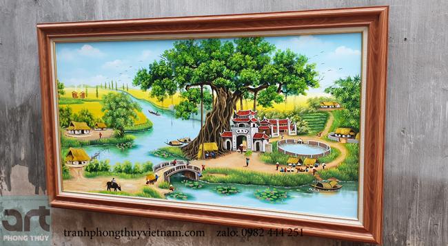 xưởng vẽ tranh sơn dầu phong cảnh làng quê