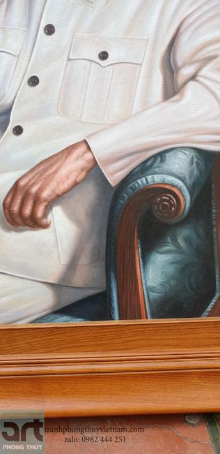 chi tiết tranh sơn dầu bác hồ