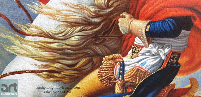 chi tiết tranh sơn dầu napoleon vượt dãy Anpơ