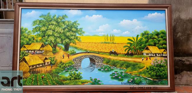 tranh phong cảnh làng quê đẹp thanh bình
