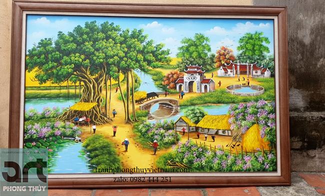 tranh vẽ cảnh làng quê đẹp thanh bình
