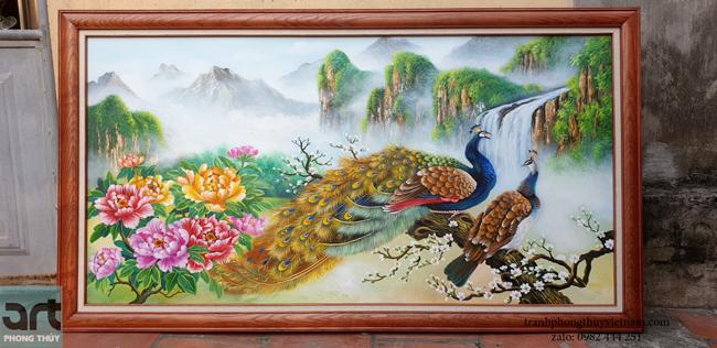 tranh chim công và 9 bông hoa mẫu đơn khung gỗ
