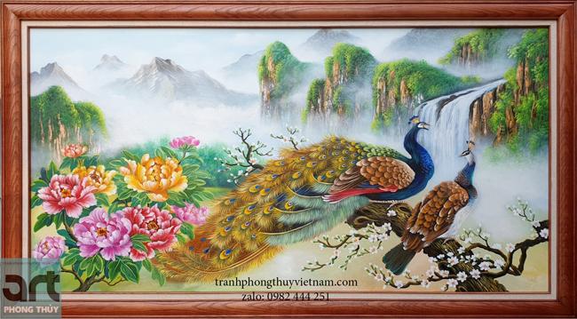 tranh phong thủy chim công và 9 bông hoa mẫu đơn