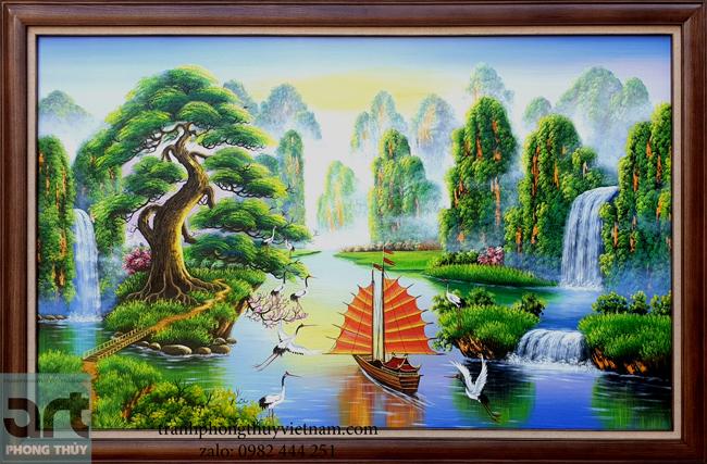 Tranh sơn thủy hữu tình đẹp treo phòng khách và nơi làm việc