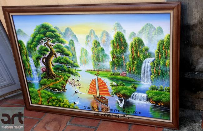 tranh sơn thủy hữu tình khung gỗ đẹp và sang trọng