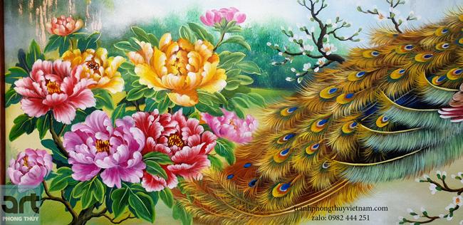 tranh vẽ 9 bông hoa mẫu đơn