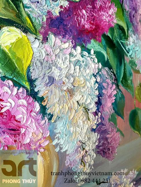 chi tiết bức tranh sơn dầu hoa tử đinh hương