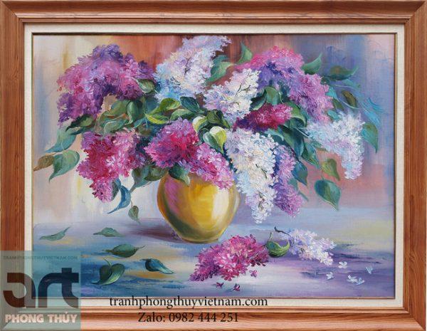 tranh sơn dầu hoa tử đinh hương