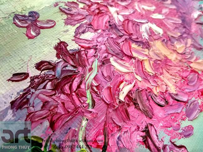 tranh sơn dầu hoa tử đinh hương đẹp