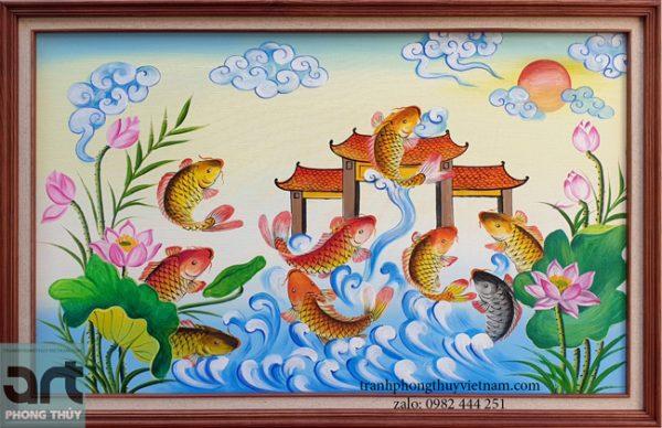 tranh cá chép vượt vũ môn