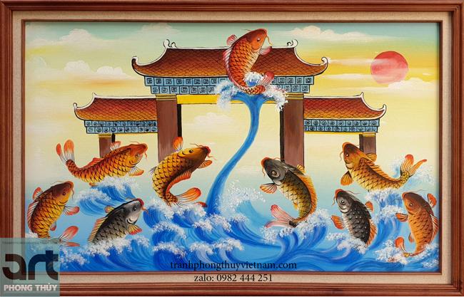 tranh phong thủy cá chép vượt vũ môn