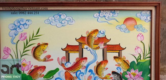 tranh sơn dầu cá chép vượt vũ môn