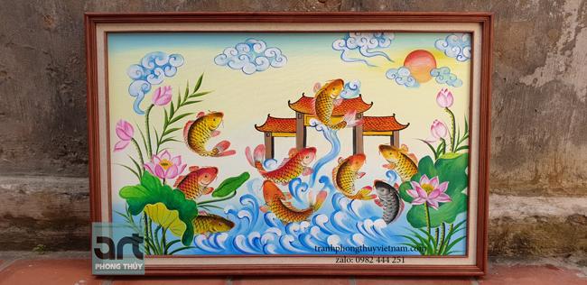 tranh vẽ cá chép vượt vũ môn