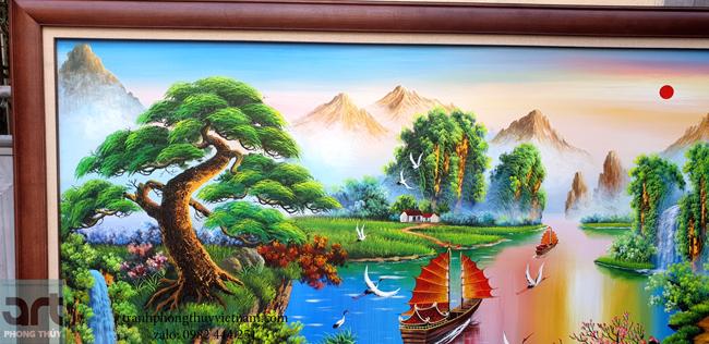 chi tiết trong tranh sơn thủy đẹp