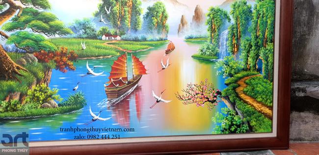 chi tiết trong tranh sơn thủy núi non thác nước