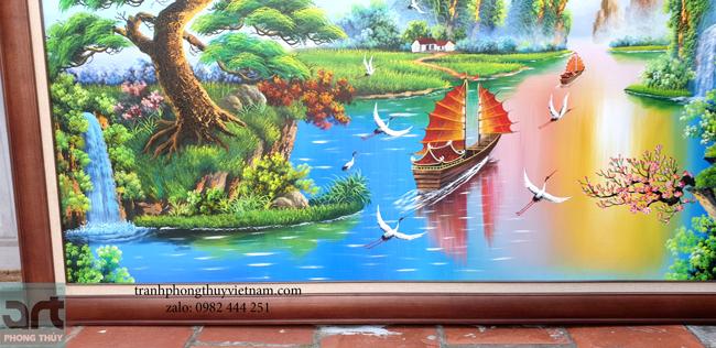 chi tiết trong tranh sơn thủy phong cảnh núi non thác nước