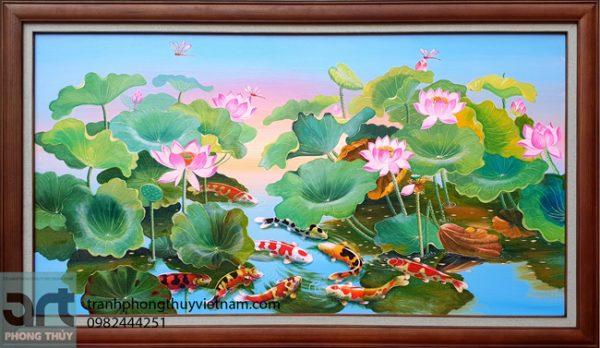 tranh phong thuỷ cửu ngư hoa sen đẹp và ý nghĩa