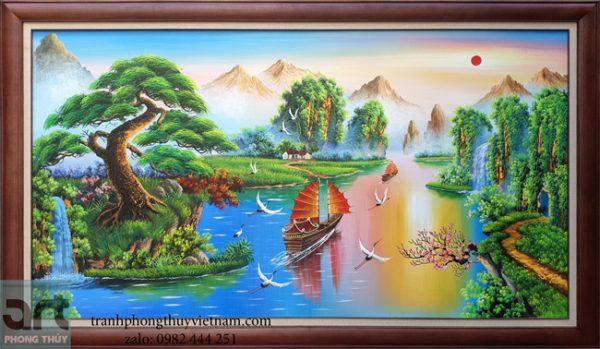 tranh sơn thủy phong cảnh núi non thác nước